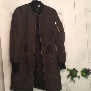 H&M divided long bomber trench coat